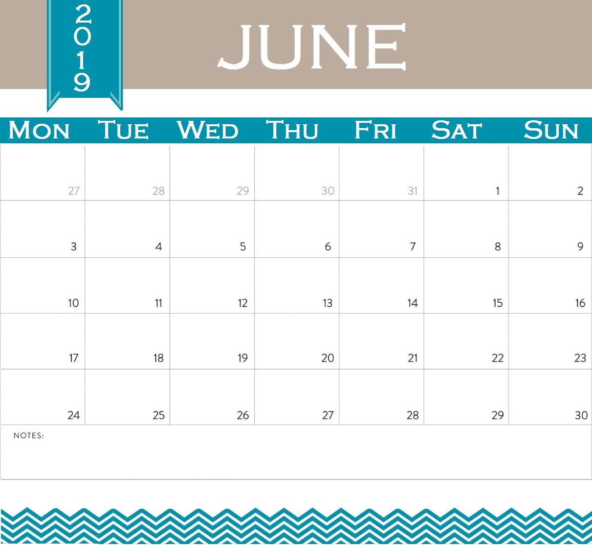 Unique June 2019 Calendar Design