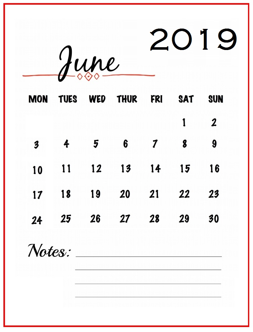 Unique June 2019 Wall Calendar Designs