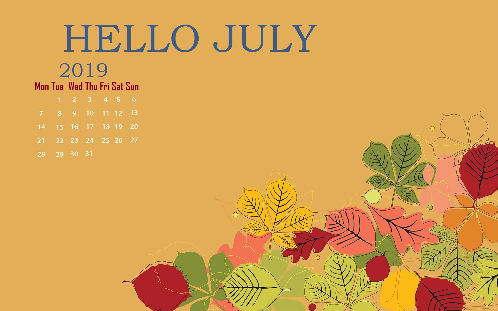 Unique Wallpaper with July 2019 Calendar