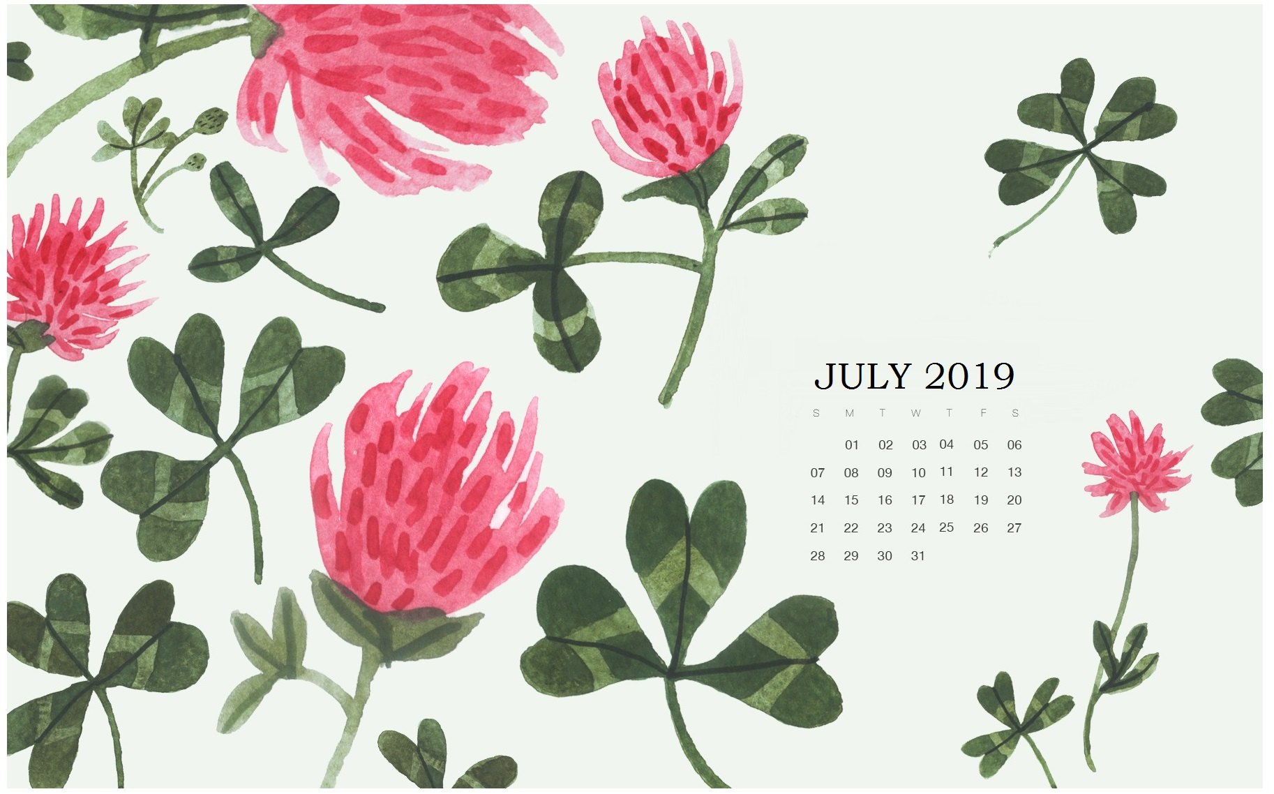 Watercolor July 2019 Calendar Wallpaper