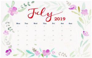 Watercolor July 2019 Desk Calendar