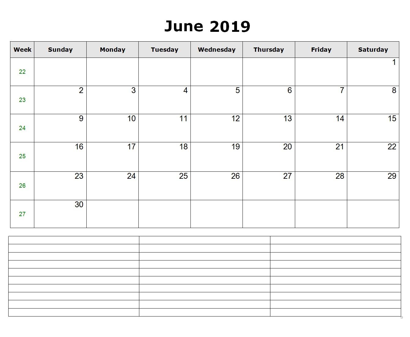 Word June 2019 Calendar Format