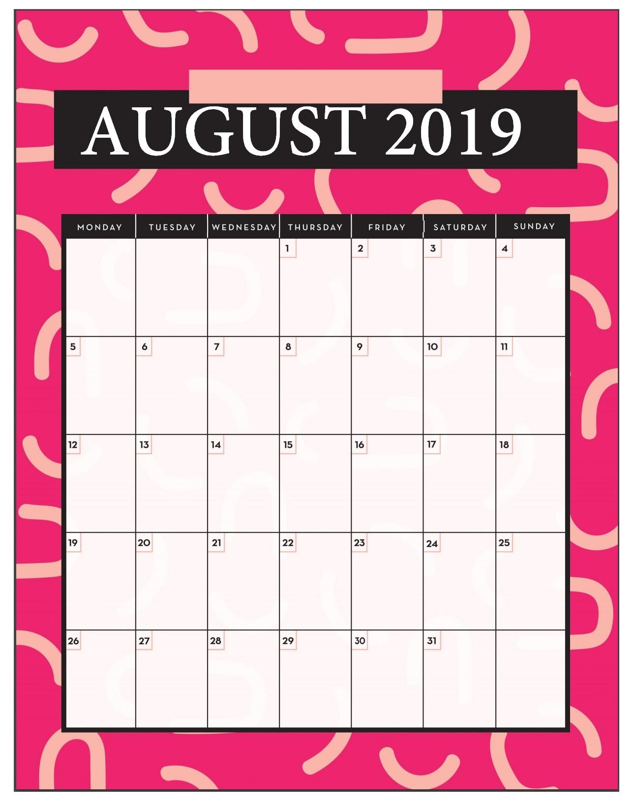 August 2019 Calendar For Desk