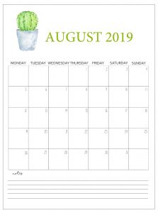 August 2019 Calendar For Office Wall