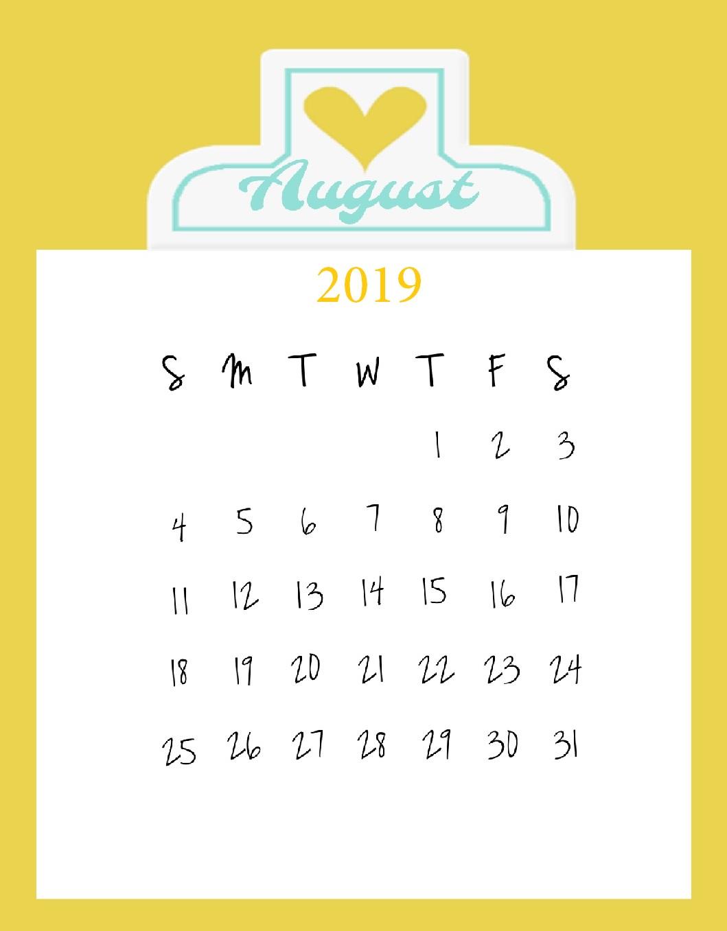 August 2019 Wall Calendar Design