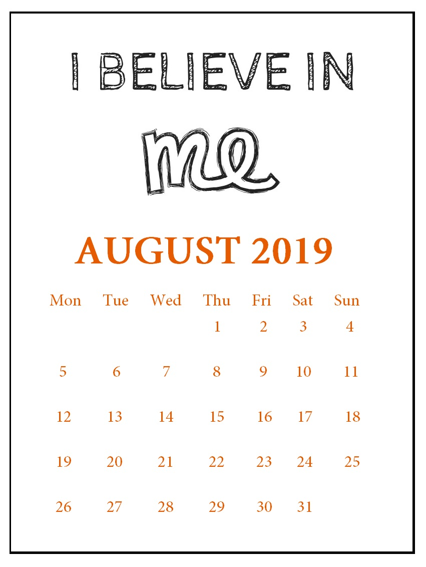 August 2019 Wall Calendar With Quotes