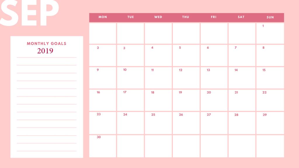 Beautiful September 2019 Calendar