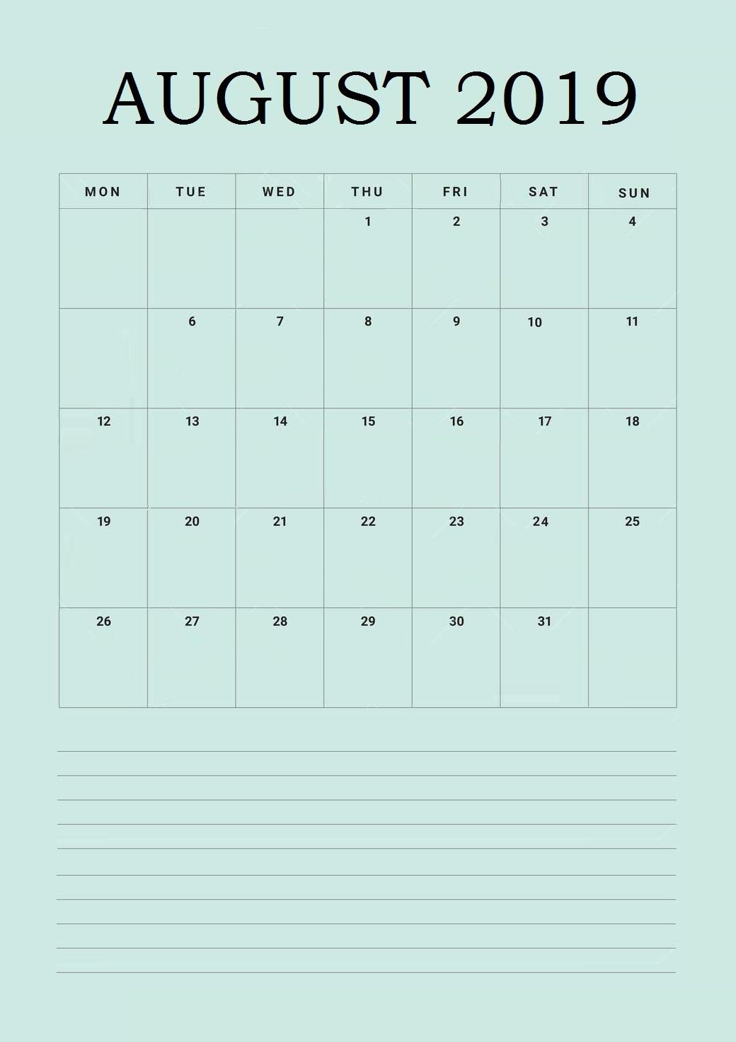 Best August 2019 Wall Calendar