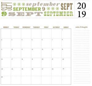 Best September 2019 Calendar Template