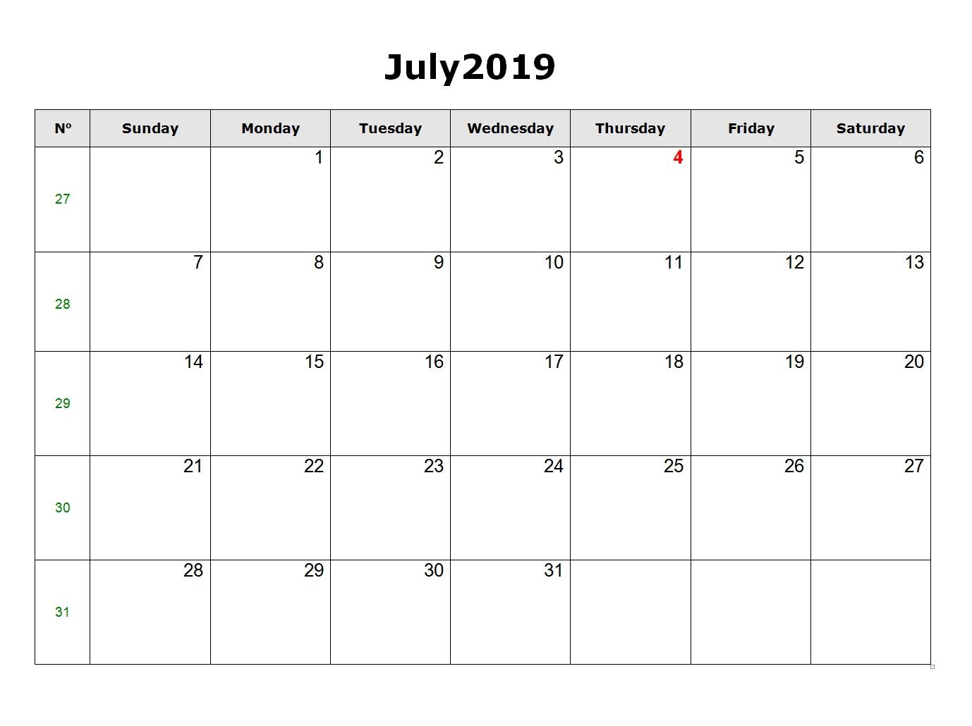 Blank July 2019 Calendar Word