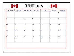 Blank June 2019 Calendar Canada