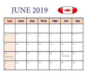 Canada June 2019 Bank Holidays Calendar