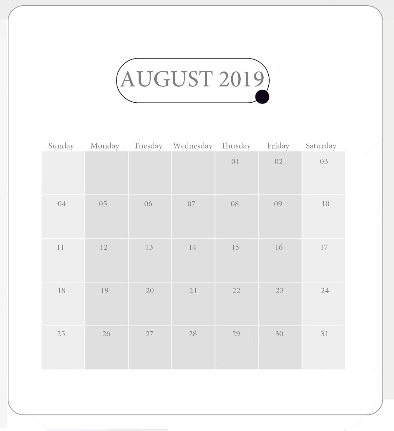 Cute August 2019 Desk Calendar