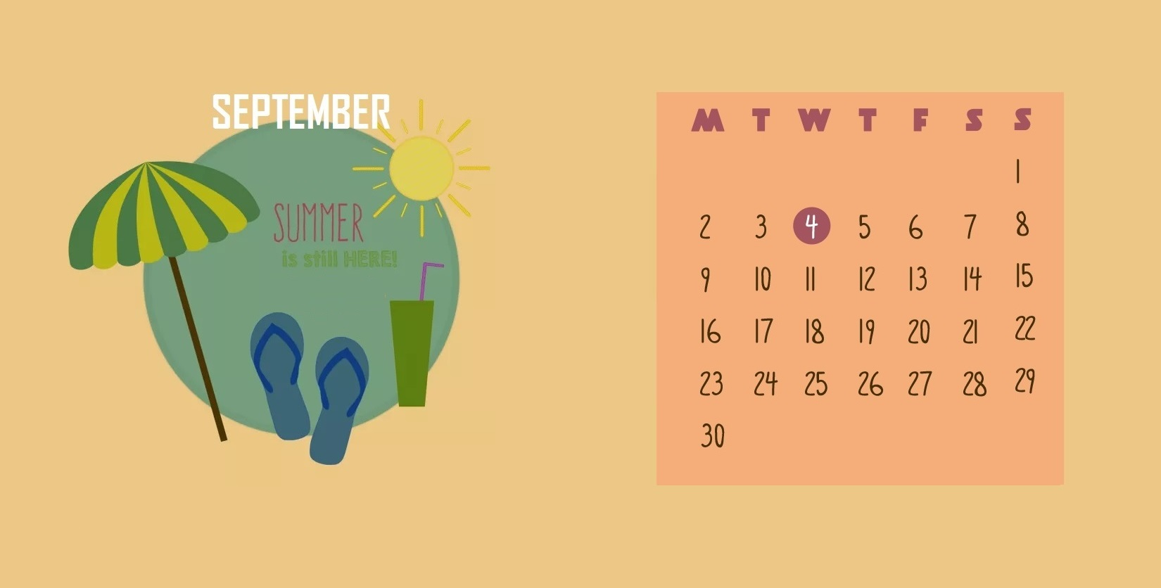 Decorative September 2019 Calendar Wallpaper