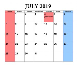 Download July 2019 Excel Calendar