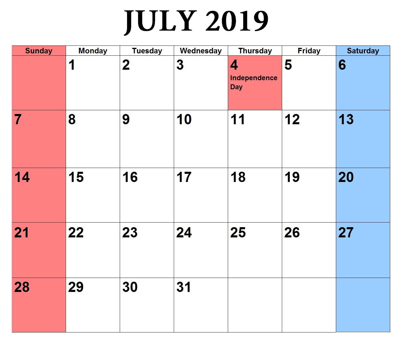 Download July 2019 Word Calendar