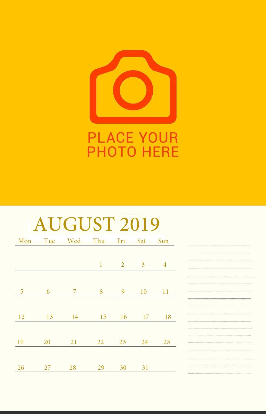 Editable August 2019 Wall Calendar