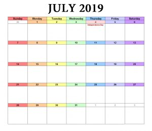 Excel July 2019 Template