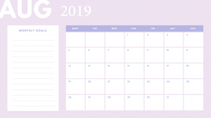 Free August 2019 Desk Calendar
