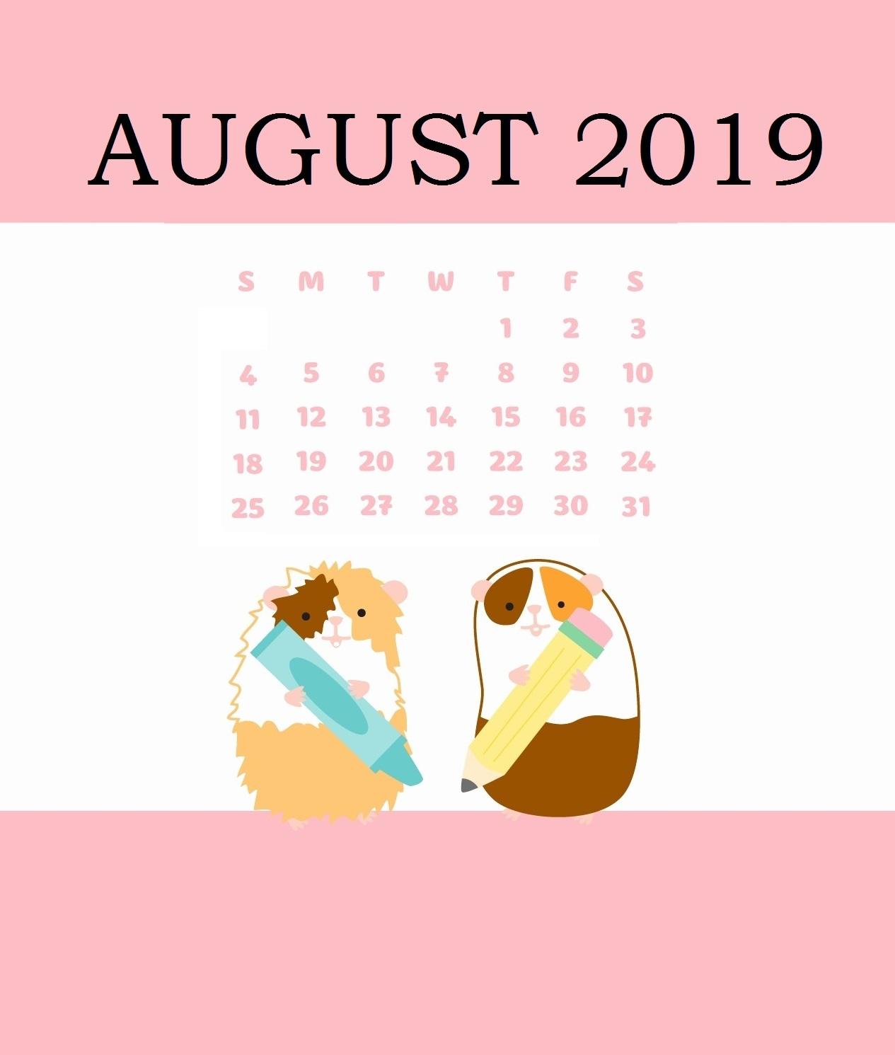 Free August 2019 Wall Calendar