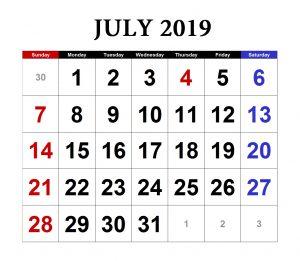Free July 2019 Excel Calendar