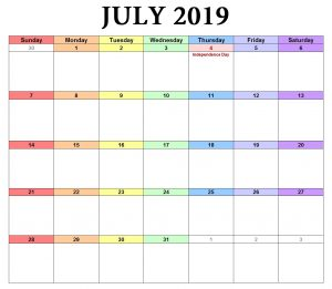 July 2019 Landscape Word Calendar