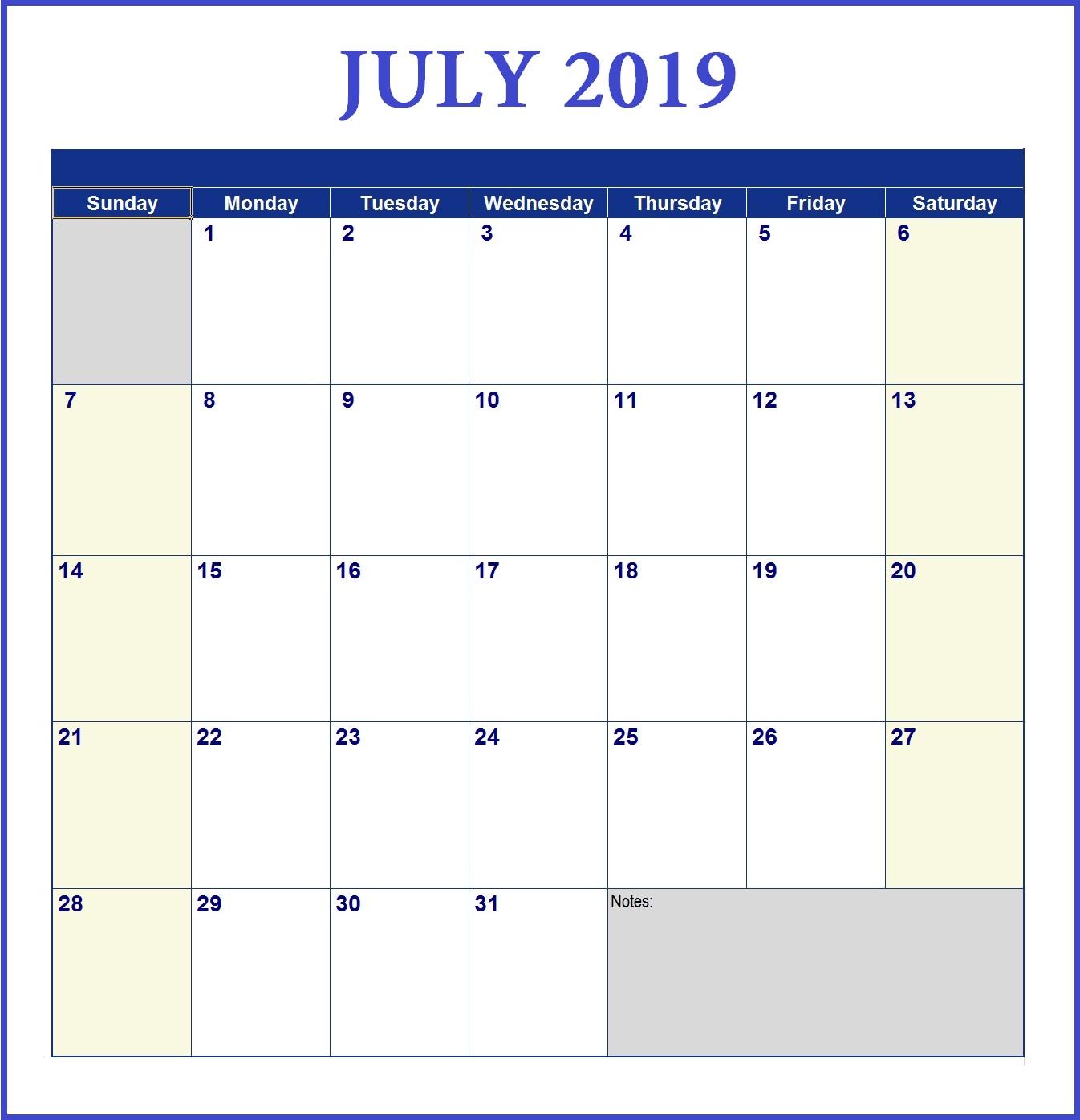 July 2019 Word Calendar