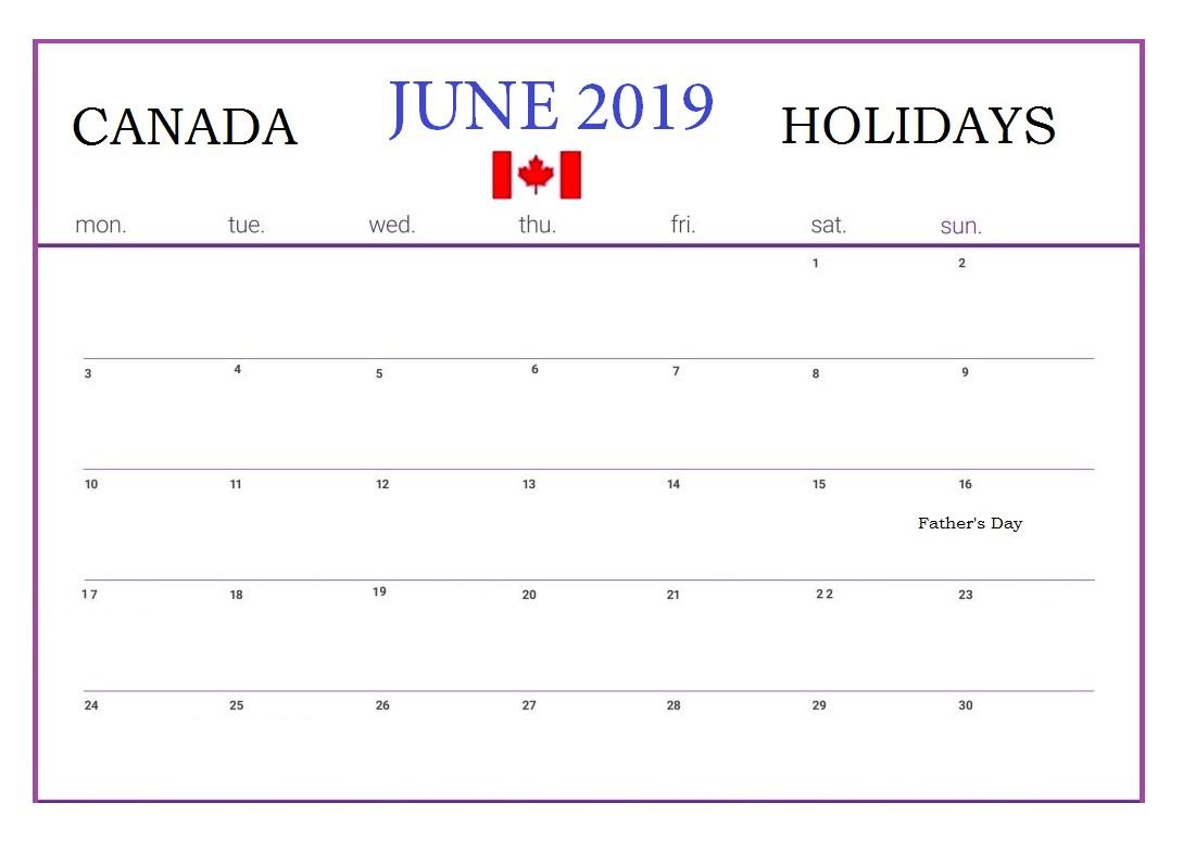 June 2019 Canada Public Holidays Calendar
