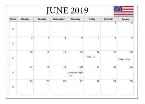 June 2019 Holidays Calendar United States