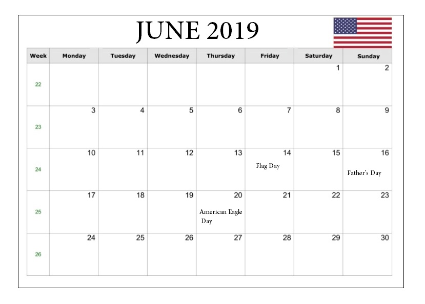 June 2019 Holidays Calendar United States