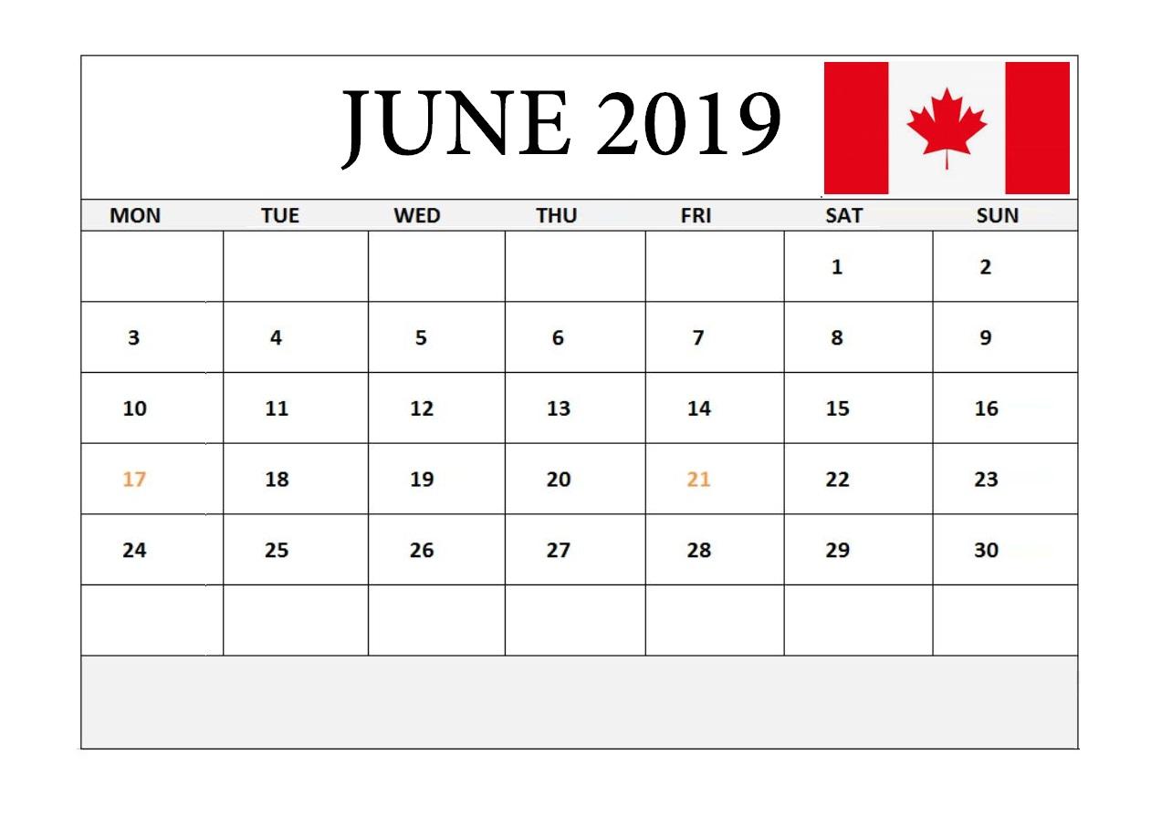June 2019 Holidays Canada Calendar