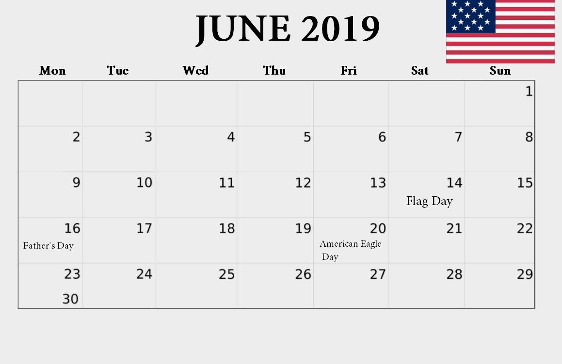 June 2019 USA Bank Holidays Calendar