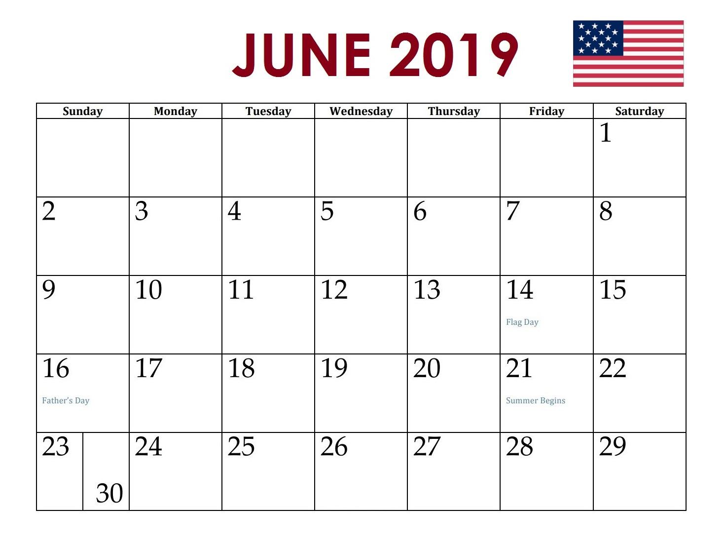 June 2019 USA Holidays Calendar
