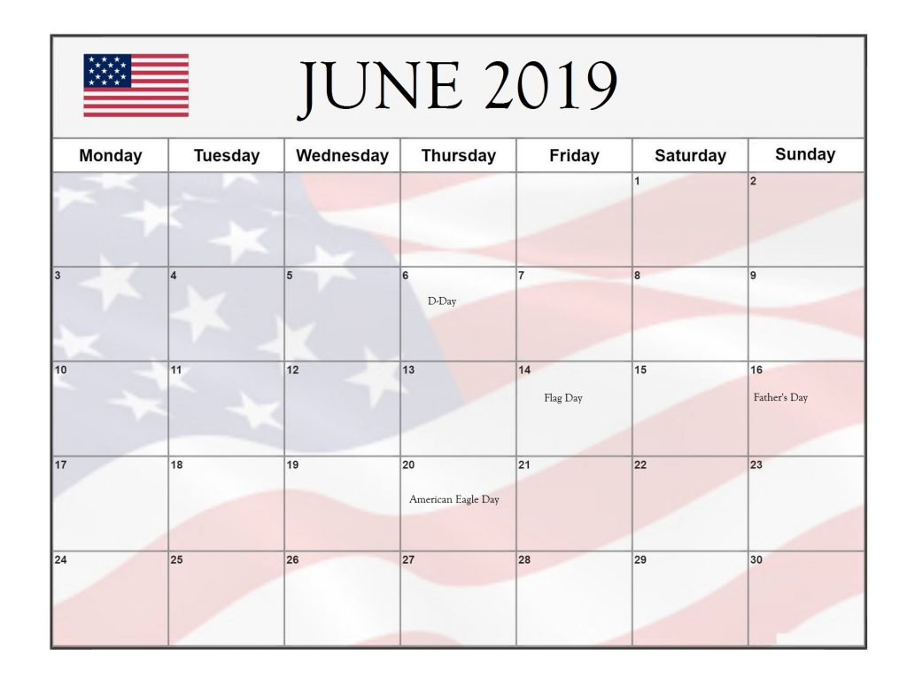 June 2019 USA Public Holidays Calendar