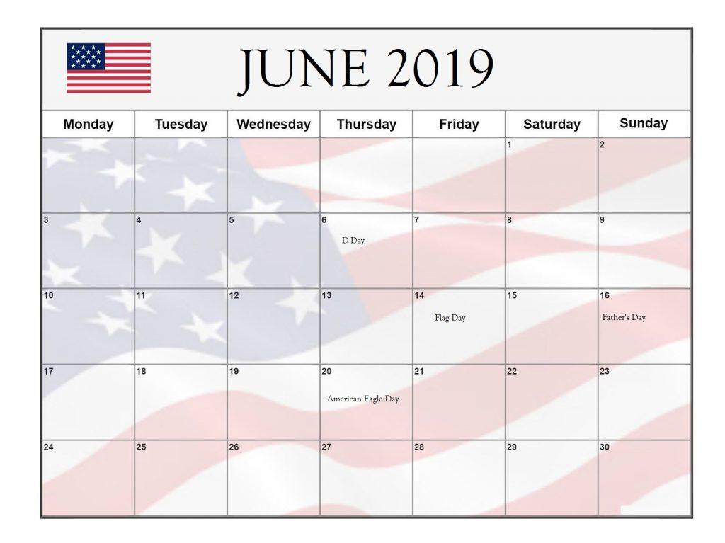 June 2019 USA Public Holidays Calendar