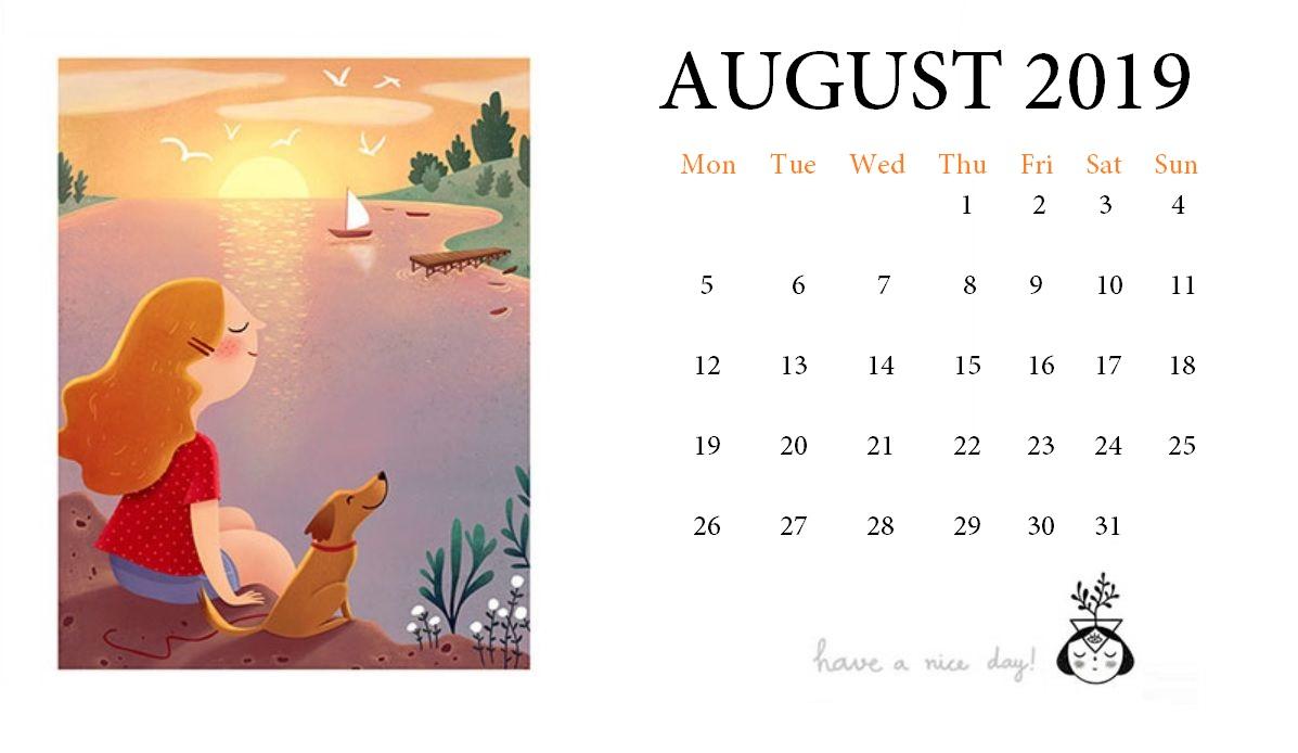 Print August 2019 Desk Calendar