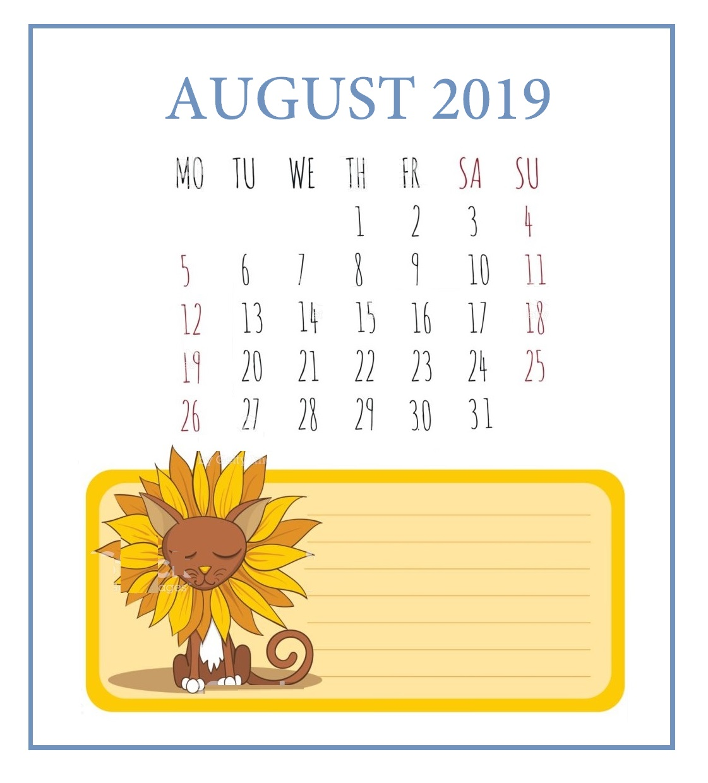 Printable August 2019 Desk Calendar