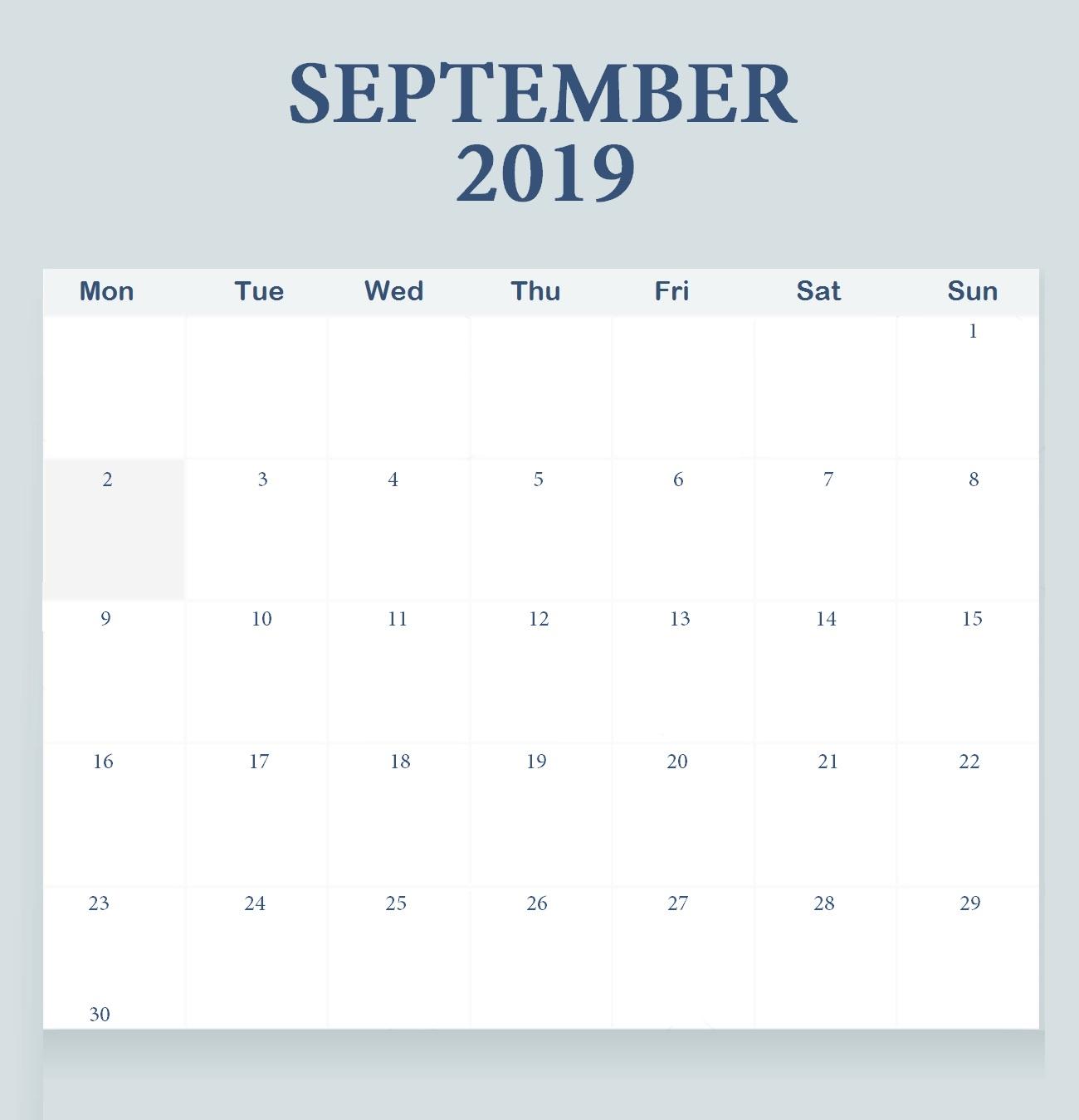 September 2019 Monthly Planner