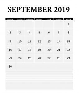 September 2019 Planner Calendar