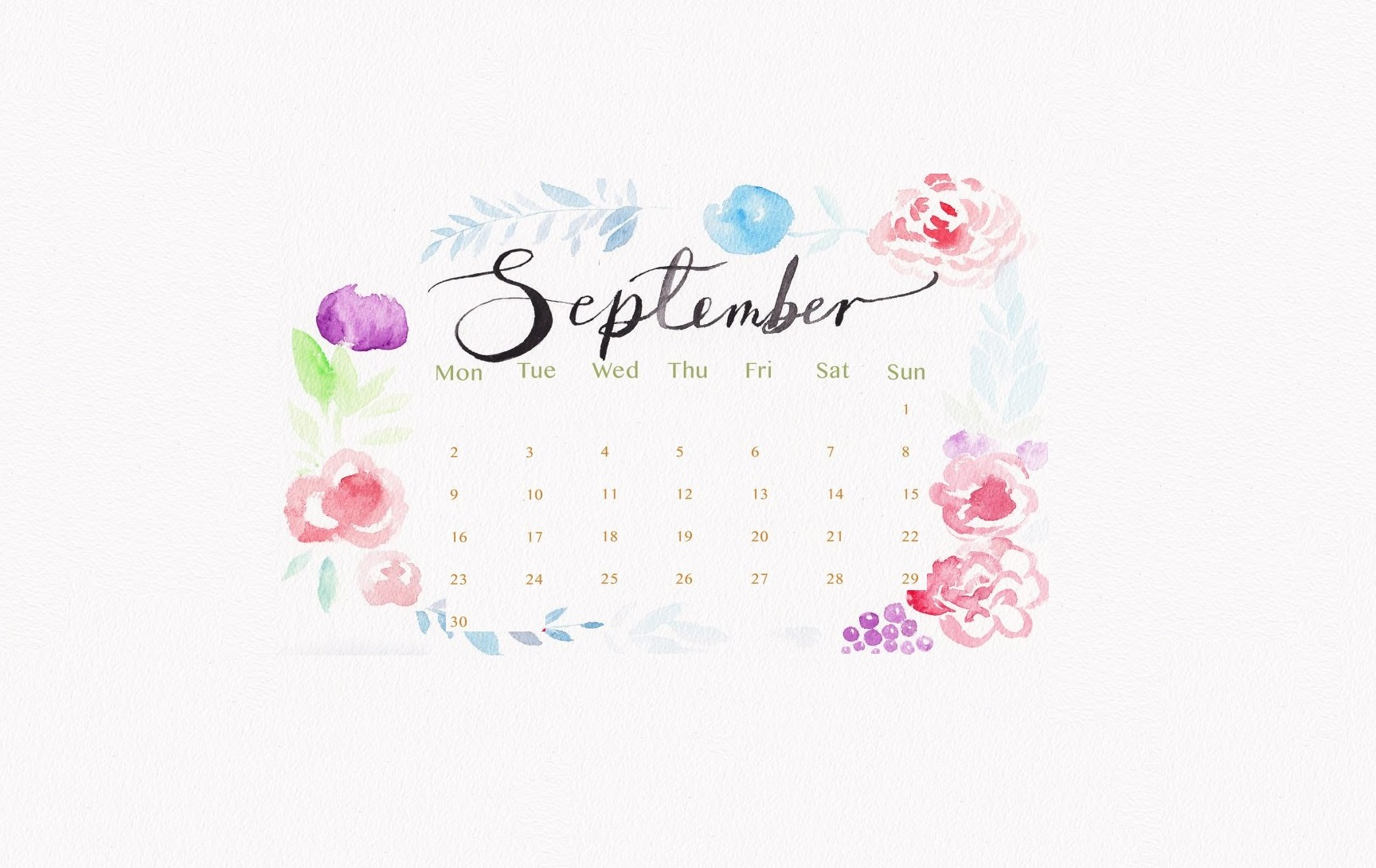 September 2019 Watercolor Calendar Wallpaper