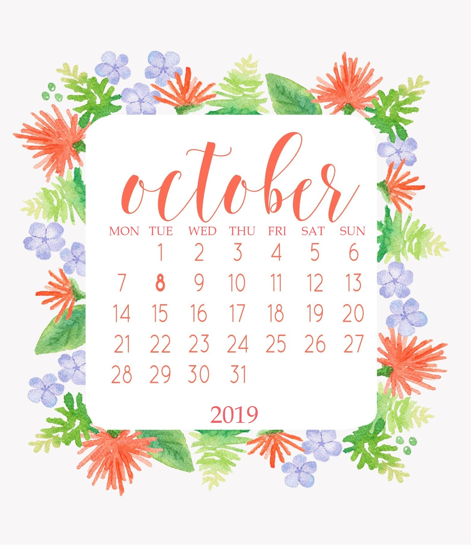 Beautiful October 2019 Floral Calendar
