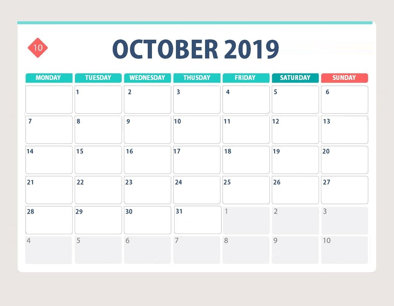 Blank October 2019 Desk Calendar