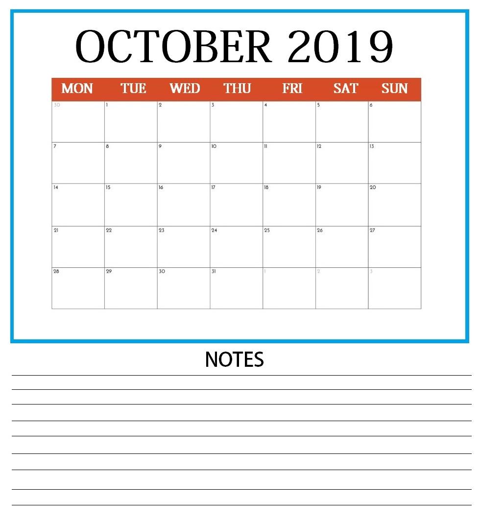 Blank October 2019 Weekly Planner