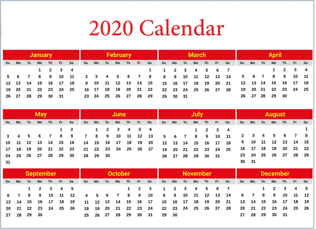 Calendar 2020 Yearly Printable