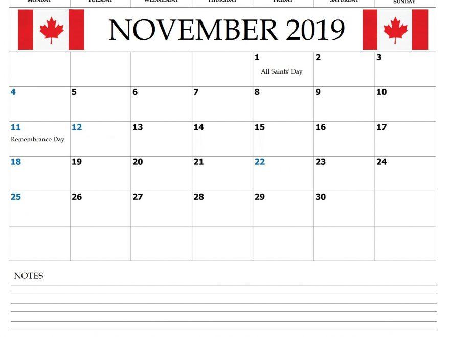 Canada November 2019 Bank Holidays Calendar