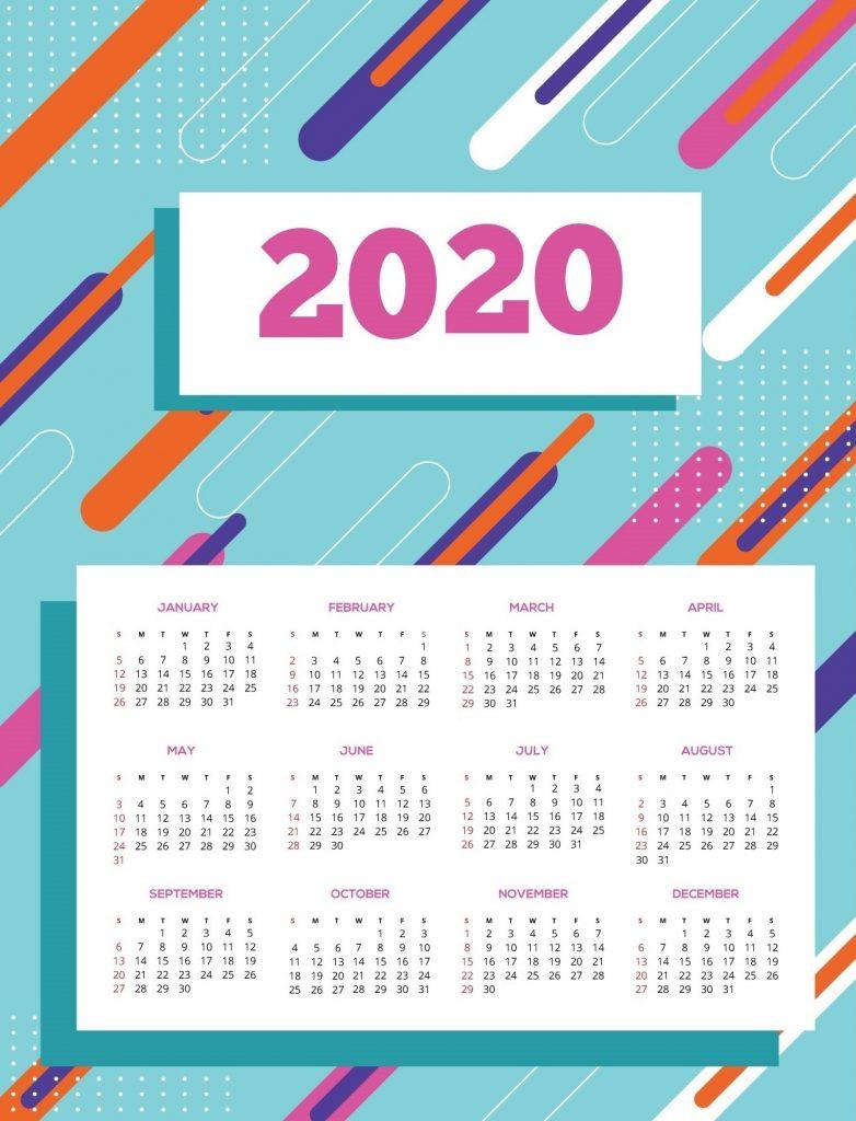Cute 2020 Calendar Design Template