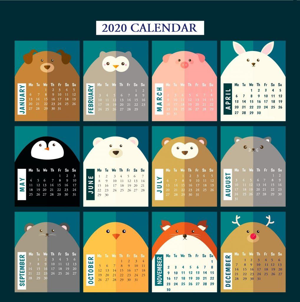 Cute 2020 Yearly Calendar