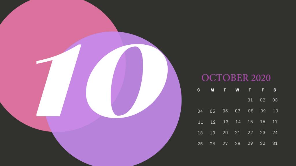 Cute October 2020 Calendar Printable