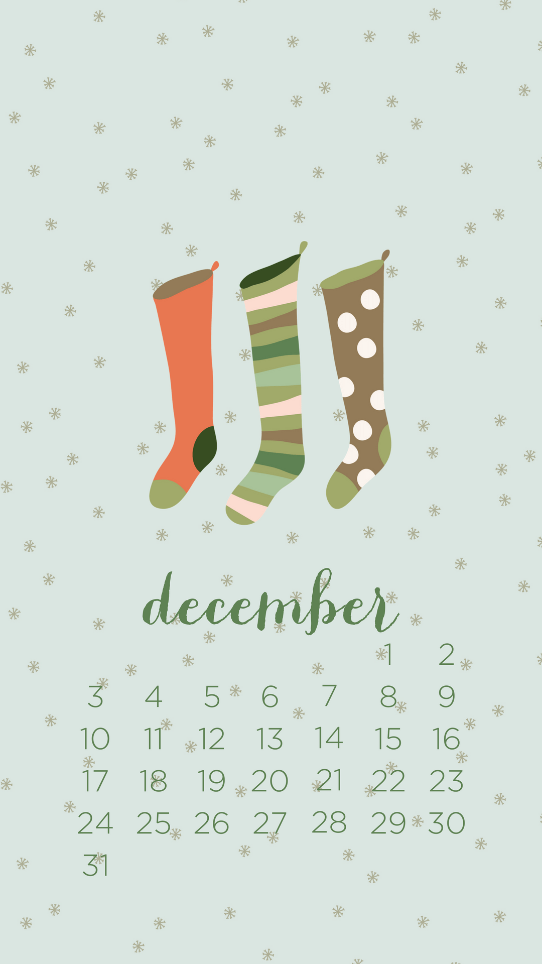 December 2019 iPhone Wallpaper Calendar