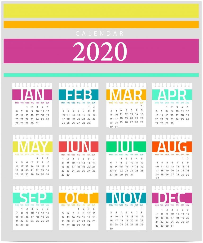 Decorative 2020 Calendar Design